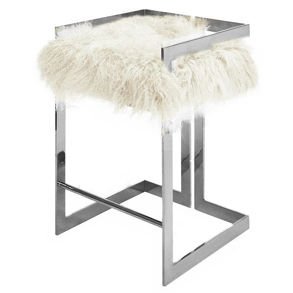 Worlds Away Nickel Frame Counter Stool – White Mongolian Fur