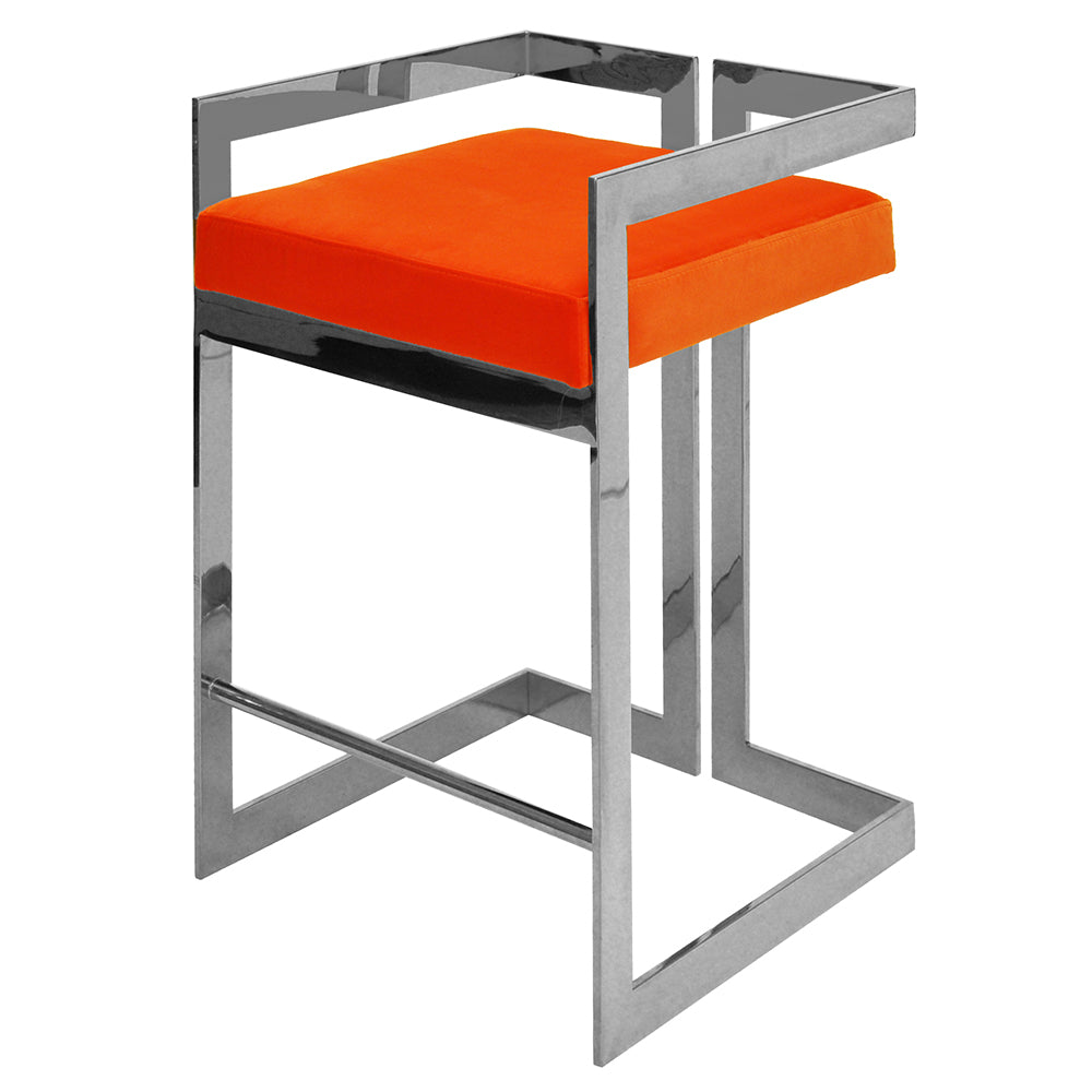 Worlds Away Nickel Frame Counter Stool – Orange Velvet