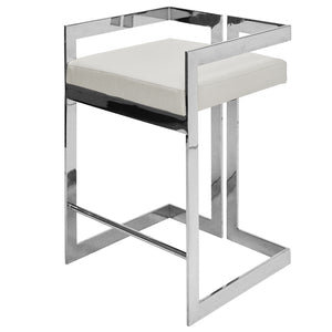 Worlds Away Nickel Frame Counter Stool – White Vinyl