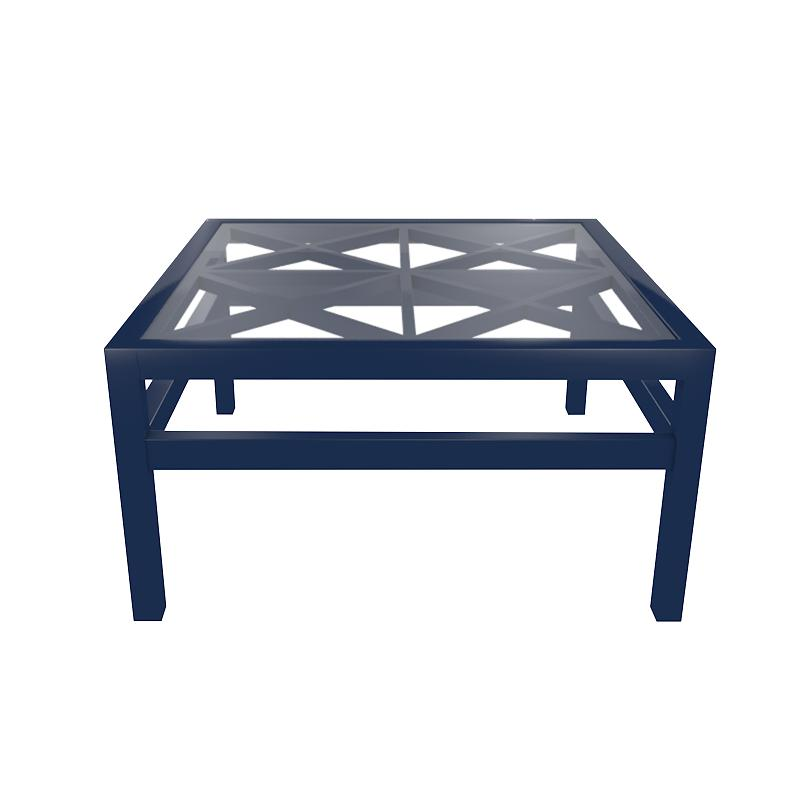 Essex Lacquer Trellis Coffee Table with Glass Top - Navy Blue (19 colors available)