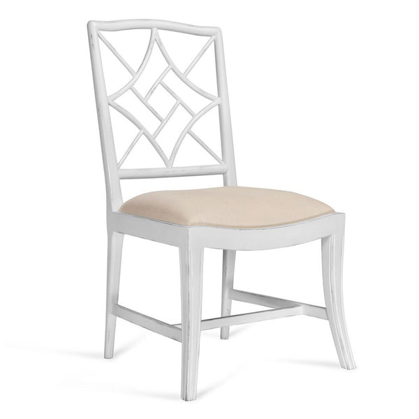 Bungalow 5 Diamond Fretwork Side Chair — White Lacquer
