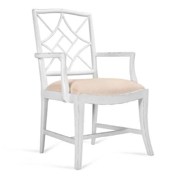 Bungalow 5 Diamond Fretwork Arm Chair — White Lacquer