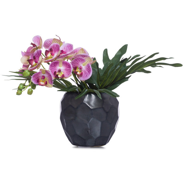 Small Lavender Silk Phalaenopsis in Faceted Black Pot