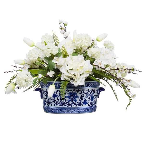 White Silk Florals in Chinoiserie Pot