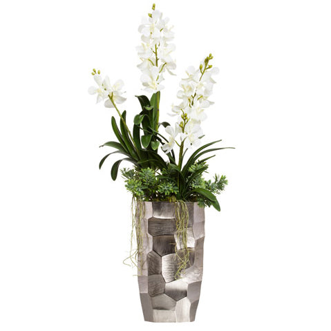 Large White Silk Vanda Orchid in Modern Silver Vase