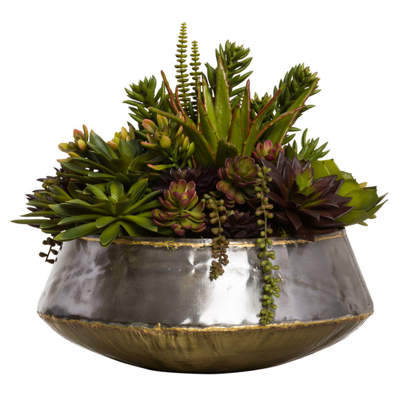 Faux Succulents Arrangement in Large Bengal Bowl