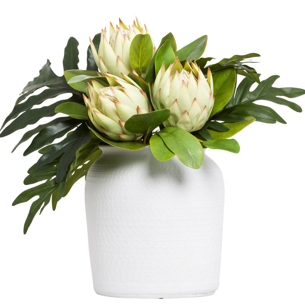 Protea Silk Floral Arrangement in White Bowl