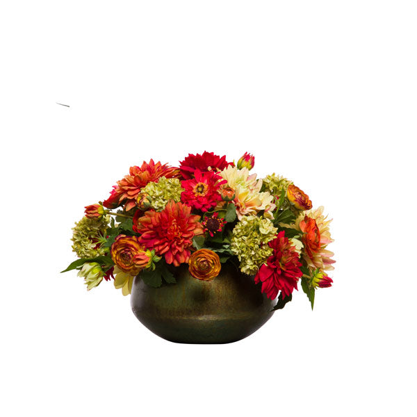Silk Dahlia & Zinnia Arrangment - Red & Orange