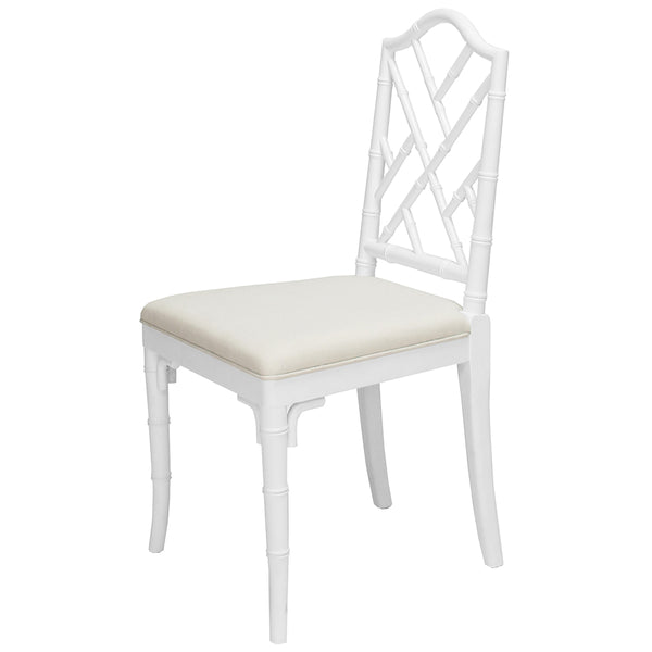 Worlds Away Chippendale Style Dining Chair – White Lacquer