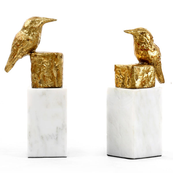 Bungalow 5 Gold Leafed Finch Sculptures with Marble Base – Set of 2