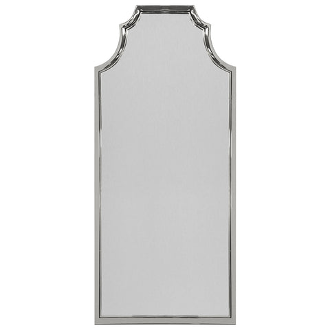 Worlds Away Pagoda Style Floor Mirror – Polished Nickel