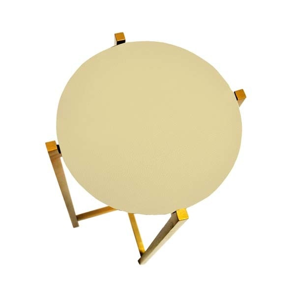 Worlds Away Antique Brass Cigar Table With Beige Shagreen Round Top