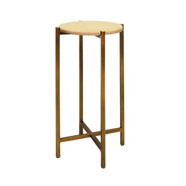World's Away Antique Brass Cigar Table With Beige Shagreen Round Top