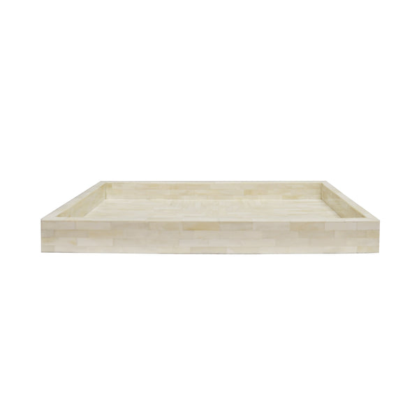 Worlds Away Slim Rectangular Tray in Natural Bone