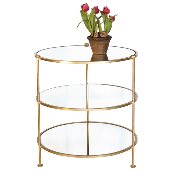 Worlds Away Simplicity Round Side Table with Mirror Tops – Gold Leaf