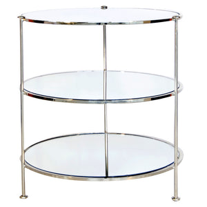 Worlds Away Simplicity Round Side Table with Mirror Tops – Nickel Plated