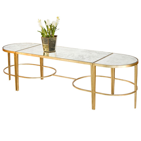 Worlds Away 3-Piece Gold Leaf Sabre Leg Cocktail Table – Antique Mirror