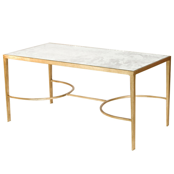 Worlds Away Rectangular Taper Leg Coffee Table - Gold