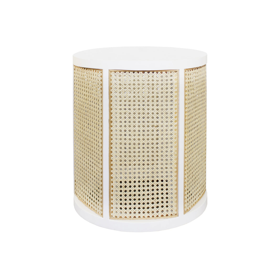 Worlds Away Cane Side Table - White Lacquer