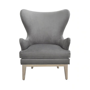 Worlds Away Frisco Wing Chair - Dove Grey Velvet