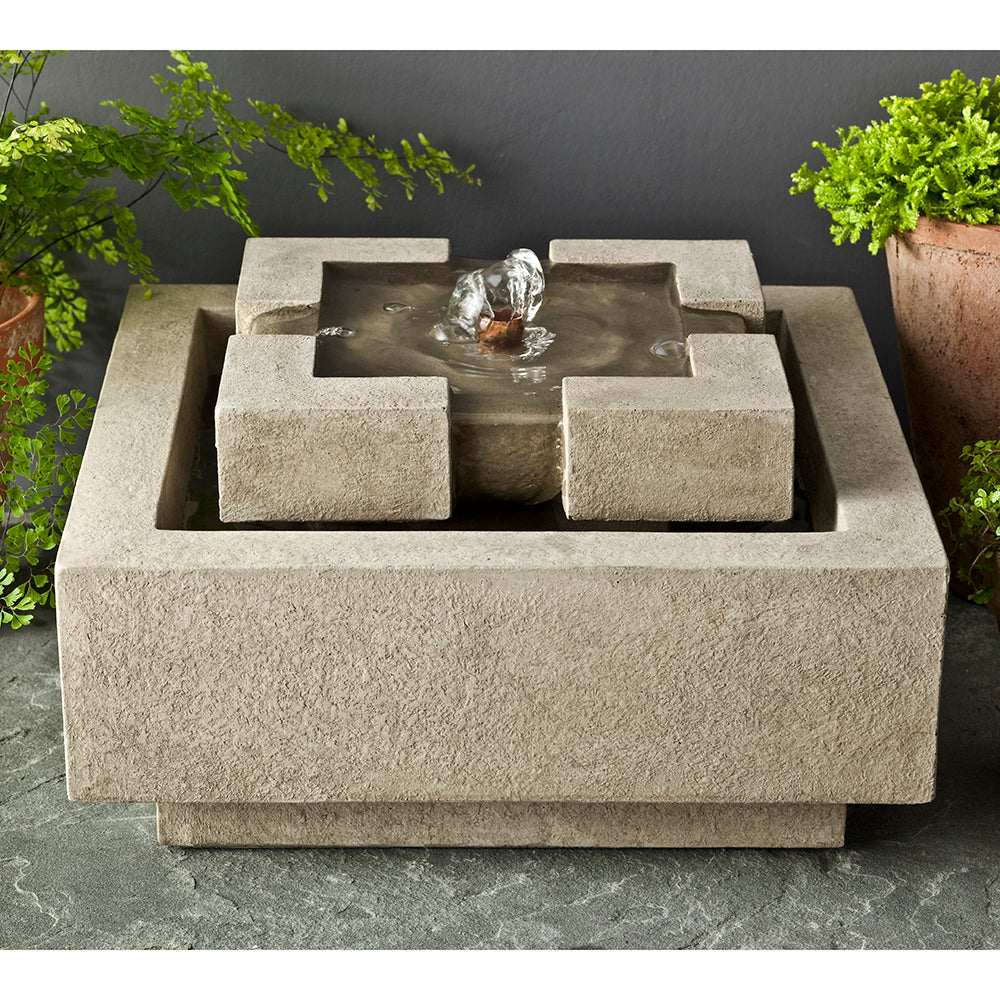 Geo Square Small Stone Fountain - Grey Stone Patina