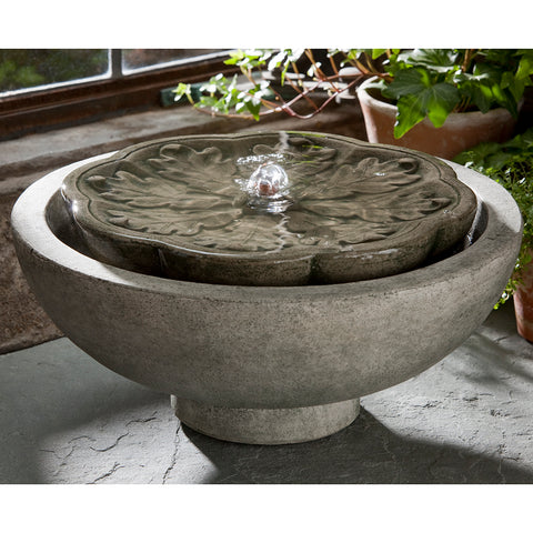 Floral Design Small Stone Fountain - Grey Patina