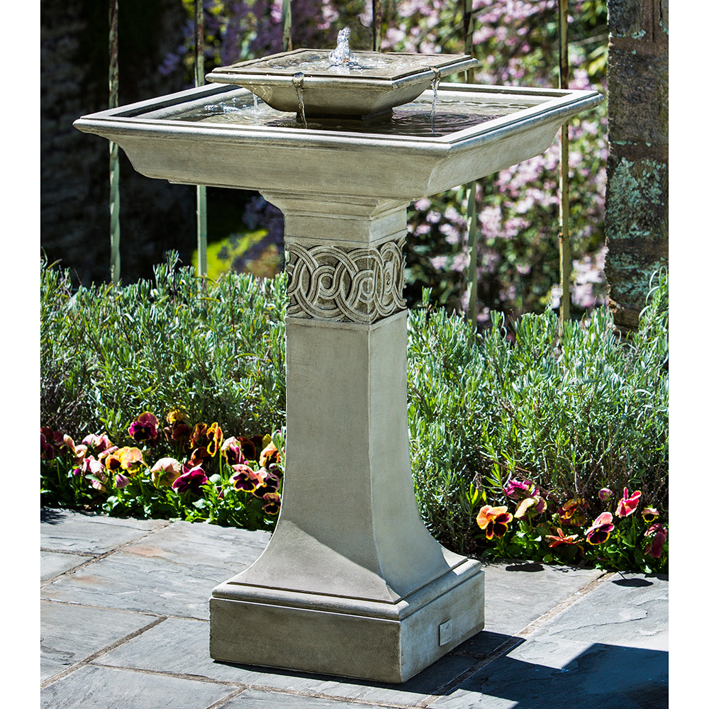 Two Tiered Square Stone Fountain - Verde Patina
