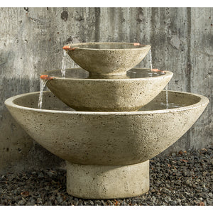 Three Tiered Oval Stone Fountain - Verde Patina