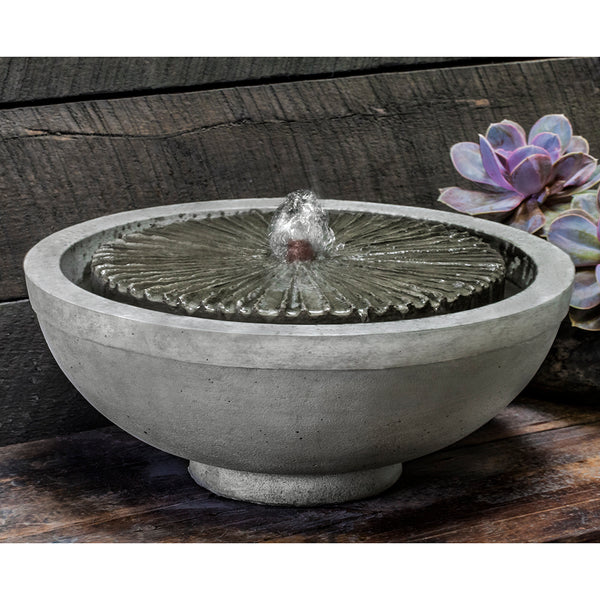 Equinox Garden Terrace Stone Fountain - Grey Patina