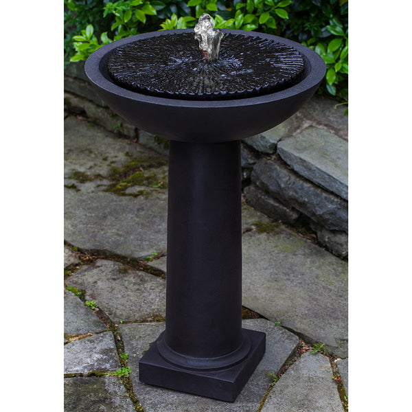 Round Garden Stone Fountain - Dark Brown Patina