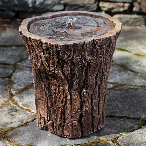 Stump Stone Fountain - Brown Stone Patina
