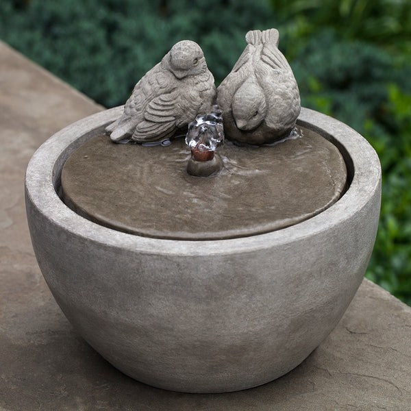 Small Bird Sculpture Stone Fountain - Grey Patina