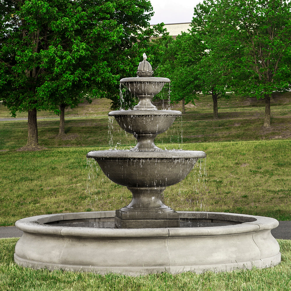 Large Three Tiered Stone Fountain with Basin - Alpine Stone Patina