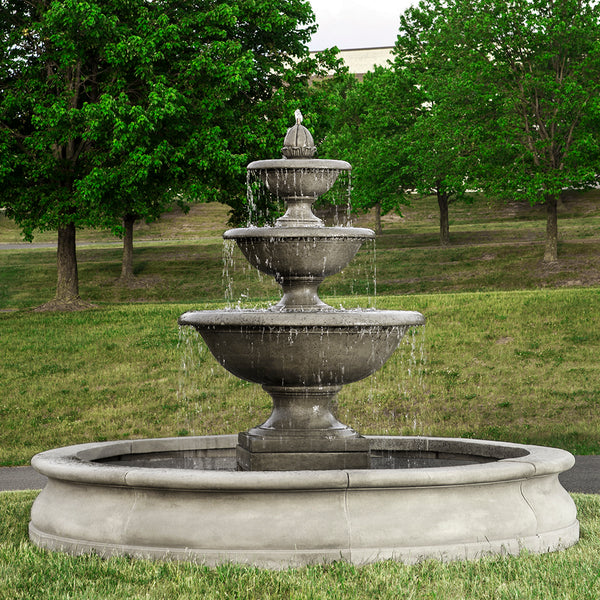 Large Three Tiered Stone Fountain with Basin - Grey Patina