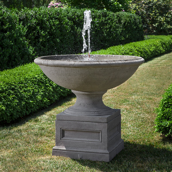 Large Round Stone Fountain - Grey Patina
