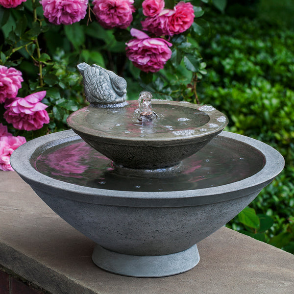 Bird Sculpture Two-Tiered Terrace Stone Fountain -  Grey Patina