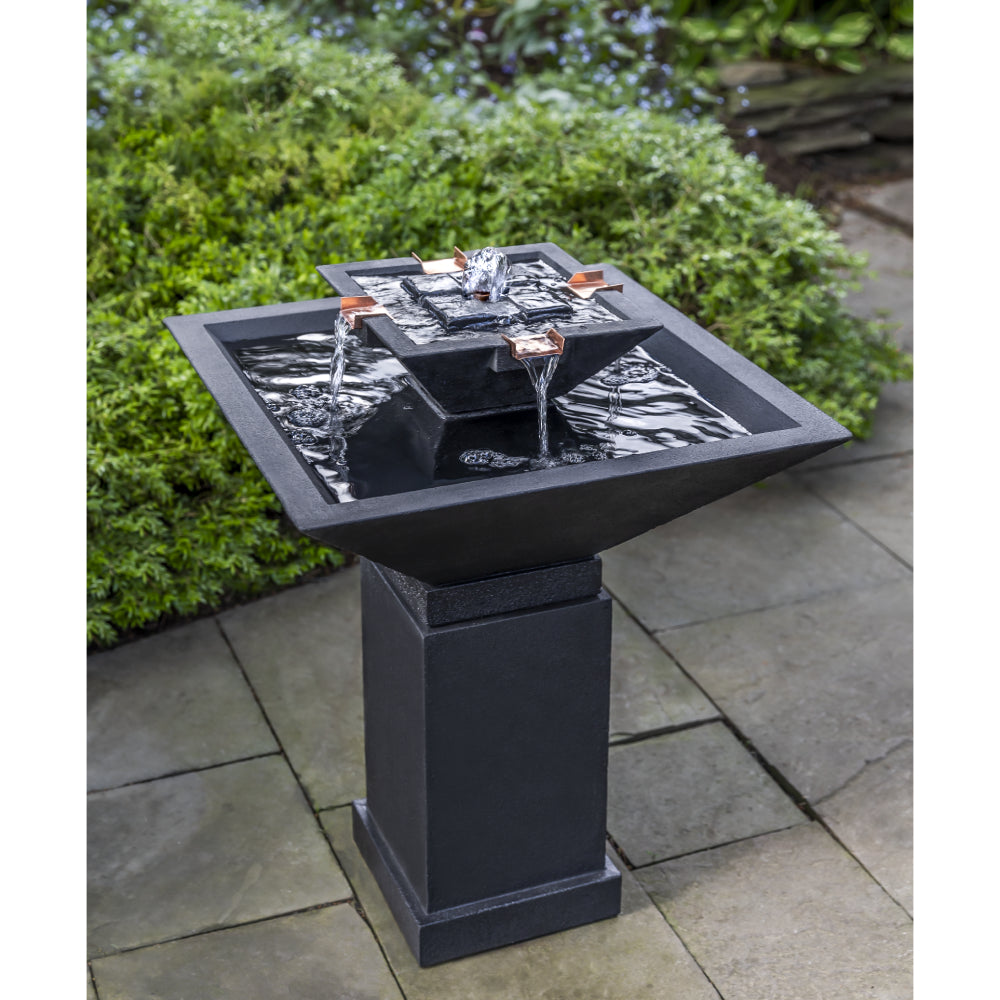 Cast Stone Tiered Pedestal Fountain - Nero Nuovo (Additional Patinas Available)