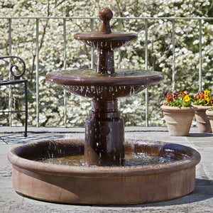 Large Esplanade Two Tier Fountain with Basin - Ferro Rustico Nuovo Patina