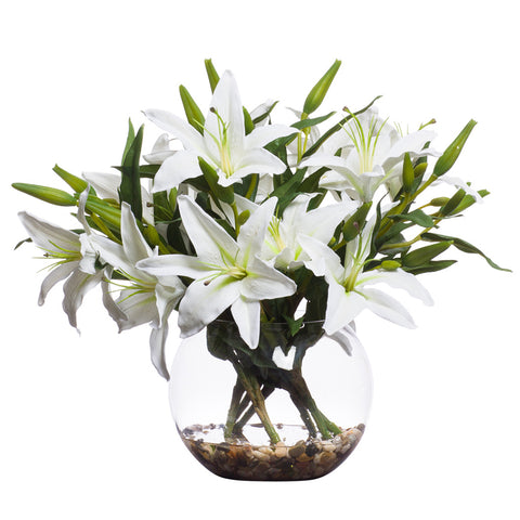 White Silk Lillies in Medium Bubble Waterlike