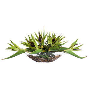 Faux Bird of Paradise in Large Glass Boat – Green