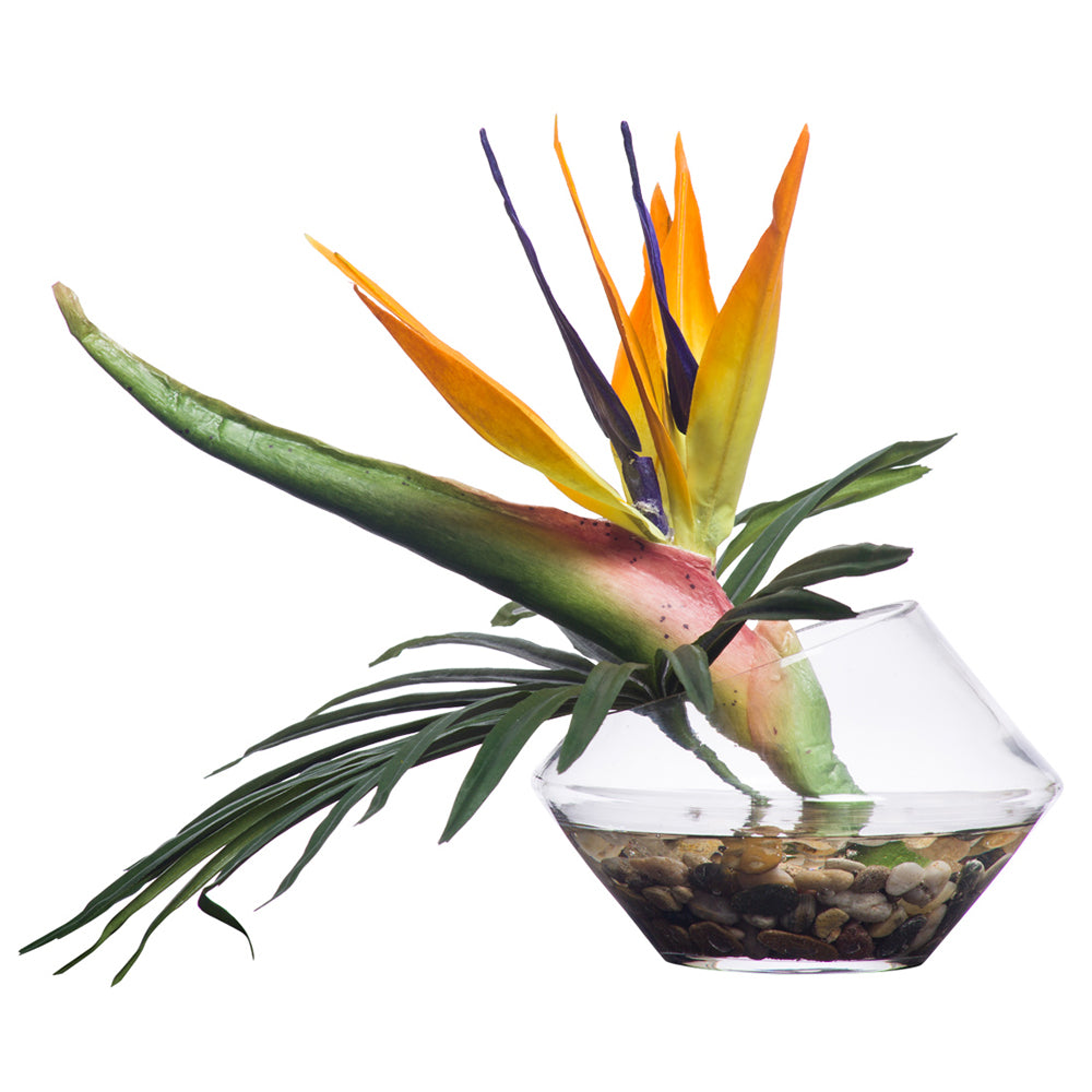 Faux Orange Bird of Paradise in Angle-Cut Waterlike