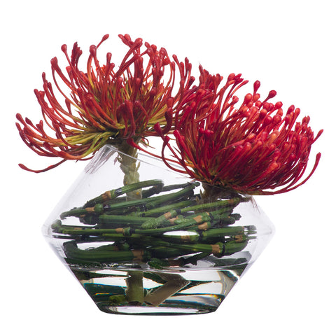 Small Pincushion Waterlike in Angled Glass Bowl