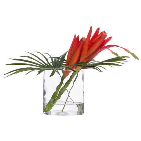 Faux Banana Bloom in Small Glass Oval Vase
