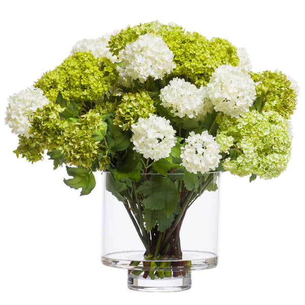 White & Green Silk Snowball Flower Arrangement in Footed Glass Cylinder