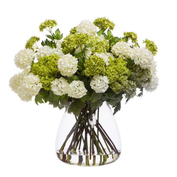 Faux Green & White Snowballs in Large Tapered Glass Vase