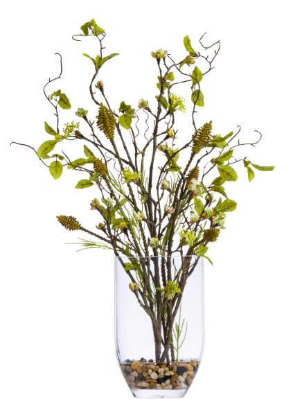 Faux Budding Branch & Curly Willow Arrangement