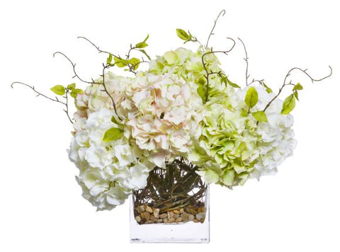 Faux Multi Hydrangea & Curly Willow Stems