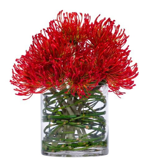 Silk Red Pin Cushion Swirl Stems Arrangement - Large
