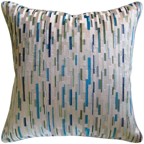 Staggered Blocks Pillow - Multi Blue