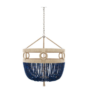 "24"" Frankie Malibu Beaded Chandelier - Navy Agate Beads"